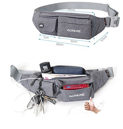 50c0bfd1023d WATERFLY Waist Bag Pack Slim Water Resistant Fanny Pack Travel Bum Bag  Running Belt for Traveling Cycling Hiking Camping - UKsportsOutdoors