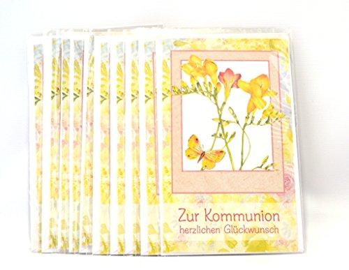 Kommunions Glückwunschkarten, 10-er, mit Umschlag, 10 gleiche
