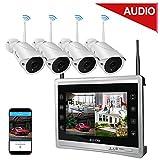 Luowice 4 Kanal 960P HD Drahtloses Wlan Überwachungskamera Set mit Monitor 4x Funk Wetterfeste Nachtsicht Überwachungskameras für innen und außen Bereich 1TB HDD