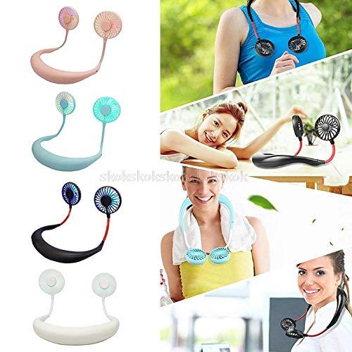 Mini-Lüfter wiederaufladbar mit Dual-Wind-Kopf 3 Geschwindigkeiten LED- Licht 3 Geschwindigkeiten blinkende 360-Grad-Drehung tragbarer USB-Akku-Nackenbügel Lazy Neck Hanging Style Dual für Hochtempera