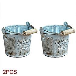 2 pcs rétro fer Pot de fleur Seau avec poignée, Petit Seau en métal Décoration Décorations Craft plantes artificielles de pots de stockage pour balcon/bureau/jardin/salon Décor Wooden Handle