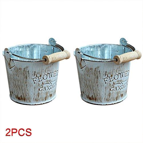 Lembeauty - 2 jarrones pequeños de hierro con ventosas para macetas, estilo vintage rústico, para decoración de jardín, hogar, escritorio