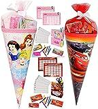 alles-meine.de GmbH 1 Set _ Schultüte gefüllt -  Disney Princess - Prinzessin  - Lern & ABC Schreibspiele - Zuckertüte gefüllte - Stiftebox - Stundenplan - Stifte - für Mädchen..
