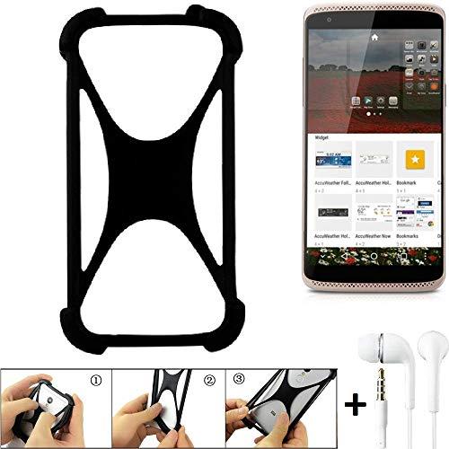 K-S-Trade Handyhülle ZTE Axon Mini Premium Edition Bumper Schutzhülle Silikon Schutz Hülle Cover Case Silikoncase Silikonbumper TPU Softcase Smartphone, schwarz (1x), Headphones