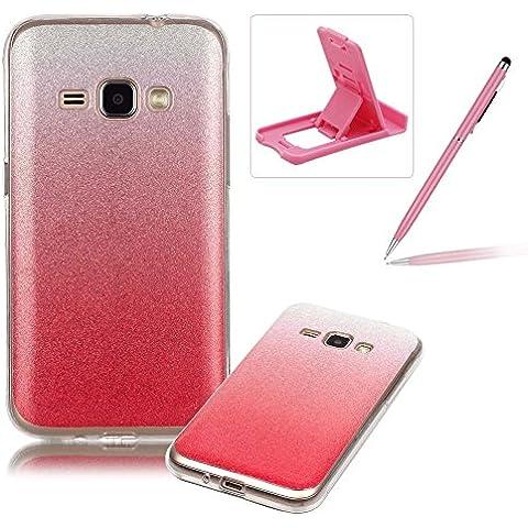 Samsung Galaxy J1(2016) SM-J120 Caja de goma de silicona resistente a los arañazos,Samsung Galaxy J1(2016) SM-J120 Ajuste perfecto La caja del gel de parachoques suave,Herzzer Luxury Elegante [Gradiente de color luz de las estrellas] Piel del arco iris del brillo de la jalea ligero flexible Gel Shell protector de la contraportada para Samsung Galaxy J1(2016) SM-J120 + 1 x Rosado pata de cabra + 1 x Rosado Lápiz óptico - Rosado
