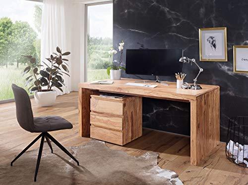 Schreibtisch BOA Massiv-Holz Akazie Computertisch Echtholz Design Ablage Büro-Tisch Landhaus-Stil HxBxT: 76x120x60cm -