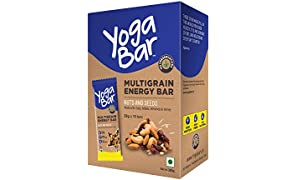 Yogabar Nuts and Seeds Multigrain-Energy Bar - Healthy Diet Snacks with Dates, Oats and Millets, Gluten Free and High Protein Crunchy Nut Bar, Packed with Chia and Sunflower Seeds (10 Bars)
