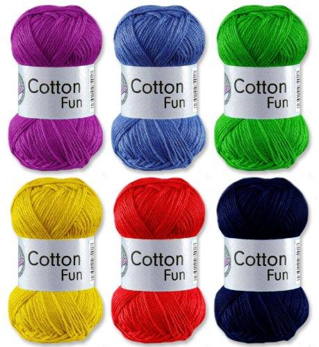 Preisvergleich Produktbild Gründl Cotton Fun Häkelgarn Schulgarn 100% Baumwolle SET 1 Bunt Mix 6 x 50 g. = 300 g.
