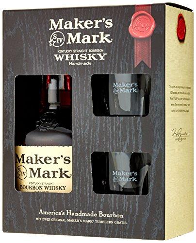Maker's Mark Kentucky Bourbon Geschenkverpackung mit 2 Gläsern (1 x 0.7 l)