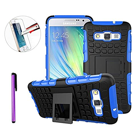 Samsung Galaxy A3 2015 Phone Case,Cover For Galaxy A3 ,NEWSTARS Samsung A3 2015 [Tyre Pattern Design] [Heavy Duty Tough Armor] [Extreme Protection] Case With Kickstand [Good Grip] Shock Absorbing Hybrid Best Impact Defender Rugged Cover Shell / Plastic Outer & Rubber Silicone Inner Detachable 2 in 1 Stand Case Cover For Samsung Galaxy A3 2015.Tyre Blue