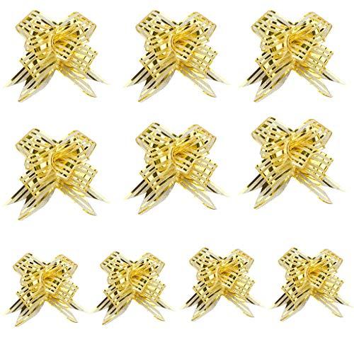 Myfilma Weihnachten 10 PC Ribbon Flower Wrap Ribbon Pull Flower Party Geschenkverpackung Dekoration vorhanden Hochzeitszimmer Hochzeit Auto Blumen Bowknot Bouquet -
