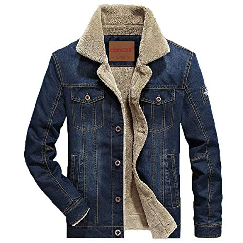 AFS JEEP Herren Denim Jeansjacke mit Fell Jacke Mantel Winterjacke Wintermantel für Winter (3XL, Dunkelblau)