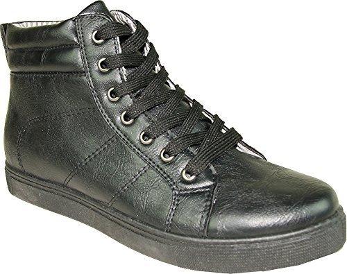 CORONADO Men Sneaker Shoe GATSBY-7 Boot Comfort Soft with a Plain Round Toe Black 8.5M (Mens Plain Toe)