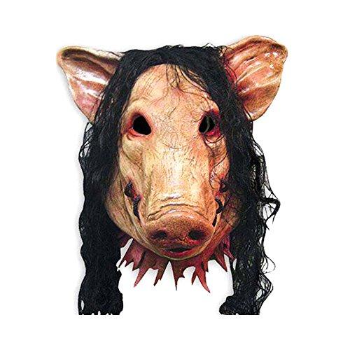 (Cdet 1x Schweinekopf Maske Latex Party Masken Masquerade Halloween Maske Cosplay Karneval Kostüm Horror Spuk Kopf Masken)