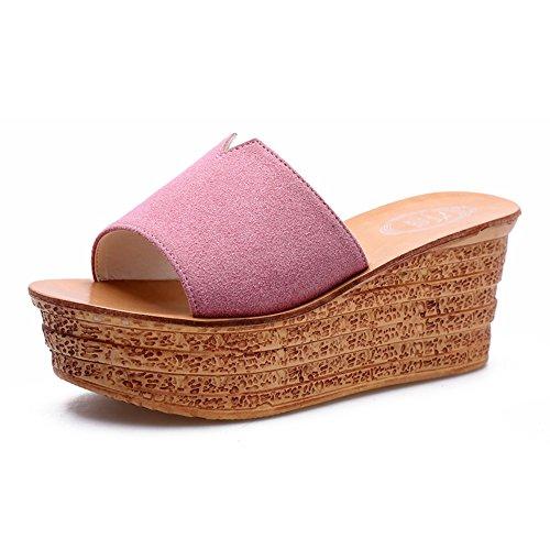 Été des sandales 7,5 cm Chaussons d'été féminins Chaussons de mode à talons hauts (Rose / Noir / Gris / Violet / Jaune) Couleur / taille facultative ( Couleur : Gris , taille : EU40/UK7/CN41 ) Rose