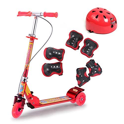 FAFEGVCFDS Alle Aluminium Handbremse Flash Rad Roller Kinder Dreirad Riesenrad Doppelbremse Stoßdämpfung (rot)