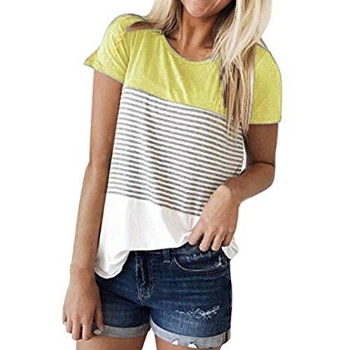 Casual Ziemlich Kleider (IMJONO Frauen Kurzarm Dreifach Farbe Block Streifen T-Shirt Casual Bluse(Gelb,EU-40/CN-L))