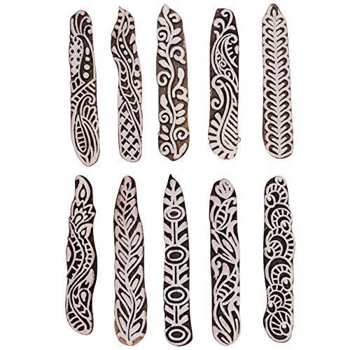 "Asian Hobby Crafts Wooden Printing Stamp Block - 10 Pieces : Size 3.5"" inches"