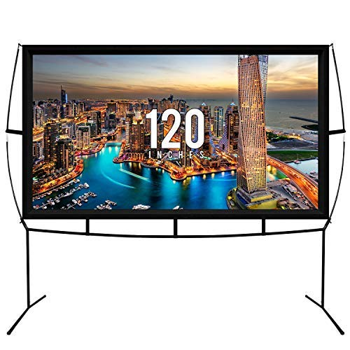 KHOMO GEAR Beamer Leinwand Tragbar Großer Bildschirm 260 x 150 cm - 120 Zoll Diagonale - TV Projektor Bildschirm Für den Außenbereich und Innen Leinwand