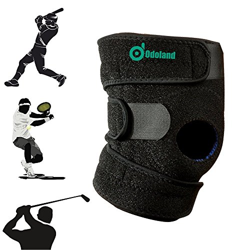 Knee Brace, ODOLAND Breathable Non-slip Knee Brace with Patella Stabilizer Kneecap Support, fit Hiking, Running, Basketball and More, Adjustable One Size, Black Test