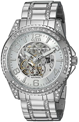 GUESS Men's Stainless Steel Oversized Casual Crystal Watch, Color Silver-Tone (Model: U1076G1)