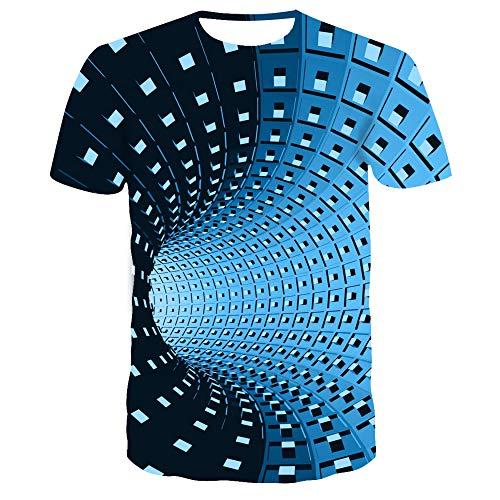 Schwarz-Weiß-Tunneldigitaldruck Herren Sommer atmungsaktives 3DT-Shirt TX-8369 L -
