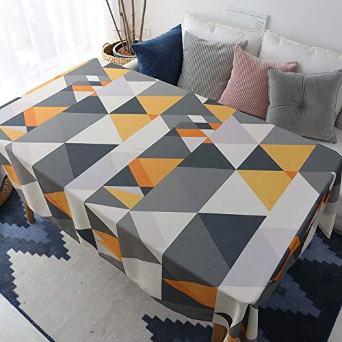 Rivestimento da tavolo lavabile a prova di polvere - tovaglia geometrica triangolare gialla impermeabile, 140x140cm, ideale per la cena al coperto e all'aperto picnic home decoration tavolo da pranzo top