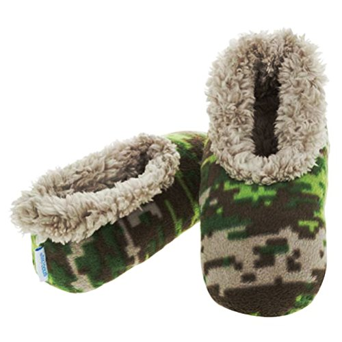 Boys Khaki Camouflage Fun Kids Snoozies Slippers in S/M/L