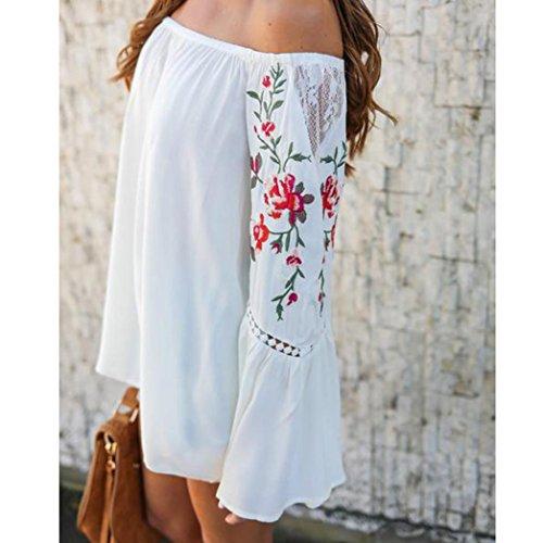 Xshuai Frauen weg von der Schulter reizvolles Blumen gedrucktes Spitze-langes Hülsen-loses Blusen T-Shirt Weiß