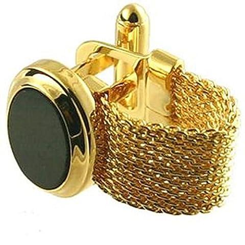 Manschettenknöpfe Wrap Around~ Doppel Armband Gold Onyx Manschettenknöpfe wählen Sie Geschenk Tasche