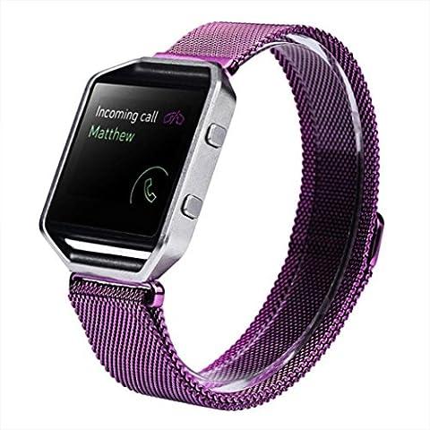 Ouneed Moda de Milán magnéticos Bandas de lazo de acero inoxidable correa de pulsera Para Fitbit Blaze (Púrpura)