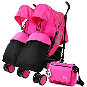 Zeta Citi TWIN Stroller Buggy Pushchair - Raspberry Pink Double Stroller Complete With FootMuffs And Bag   2