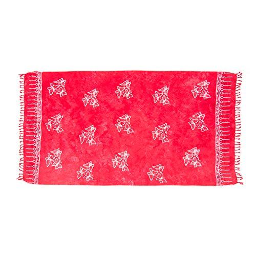 (MANUMAR Damen Sarong Blickdicht | Pareo Strandtuch | Leichtes Wickeltuch in rot mit Schmetterling-Motiv mit Fransen/Quasten | 155x115 cm | Sauna-Handtuch | Haman-Tuch | Bikini | Bali)
