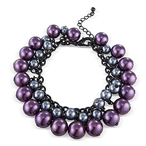 Purple and Grey Pearls Faux, Cluster Costume Jewellery Fashion Bracelet. Will arrive in a gift bag.