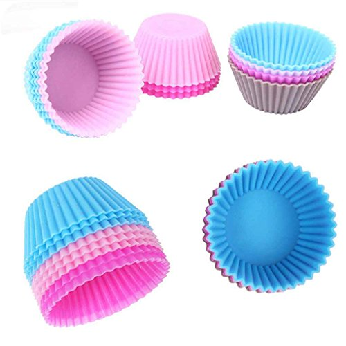 Lorjoy 1pcs / 12pcs Silikon-Kuchen-Form DIY Backen Fondant Muffin-Kuchen, Pudding Liner Gelee-Kasten (zufällige Farbe)