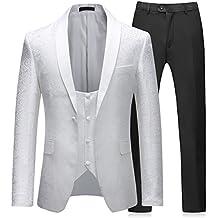 Sliktaa Costume Homme 3 Pièces Blanc Formel Slim Fit Mariage Business Bal  Tuxedo Veste Gilet et 2e809281160