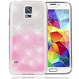 NALIA Handyhülle für Samsung Galaxy S5 S5 Neo, Glitzer Sterne Slim Silikon-Case Back-Cover Schutzhülle, Glitter Stars Sparkle Handy-Tasche, Dünnes Bling Strass Phone Etui, Farbe:Silber Pink