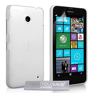 Yousave Accessories Coque Nokia Lumia 630 Etui Blanc / Clair Dur Goutte De Pluie Housse
