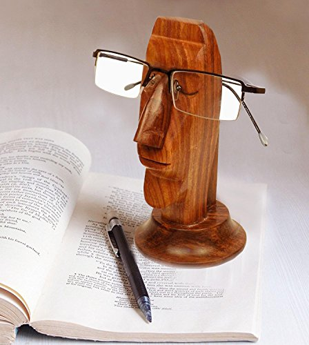 Brillenhalter Hand geschnitzte Sheesham Gesicht geformte Brillenständer Handgemachte dekorative Schreibtisch Zubehör 6 Zoll