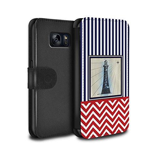 Stuff4 PU-Leder Hülle/Case/Tasche/Cover für Samsung Galaxy S7/G930 / Leuchtturm Turm Muster/Nautisch Marine Chevron Kollektion