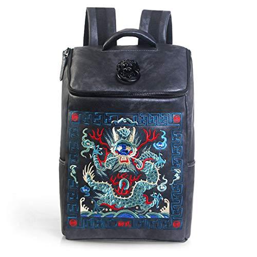Chinese Luxury Designer Wasserdichte Männer/Frauen Vintage Rucksäcke Schultasche Stickerei Rucksack Leder Laptop Tasche Blue Black Lion