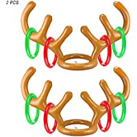 YYZP Christmas Party Inflatable Reindeer Antler Hat Ring Toss Game with Rings Xmas Fun Games for Family Kids (2 Antlers and 8 Rings)