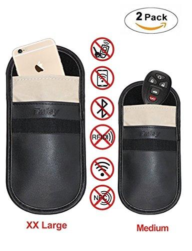 Auto Schlüssel Signal Blocker Tasche - Tuisy Signal Blocker Tasche RFID Schlüsselloser Eintritt Fob Schutz Strahlung Schild Tasche für Smartphone Privatsphäre Sicherheit EMF Schutz, Faradaysche Tasche, WIFI/GSM/LTE/NFC Blocker (2-Pack, XX Groß und Mittel) (Alarmanlage Mit Gps-tracking)