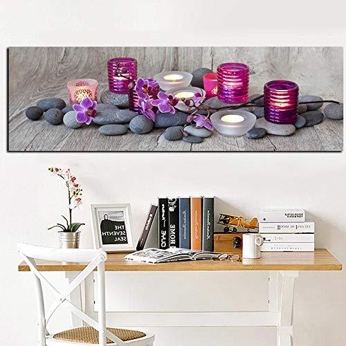 Bilder Wandbild HD Druck Orchidee Blume Zen Spa Stein Stillleben Gemälde auf leinwand Moderne Wandkunst Bild Poster für Wohnzimmer Sofa,40x120cm Rahmenlos