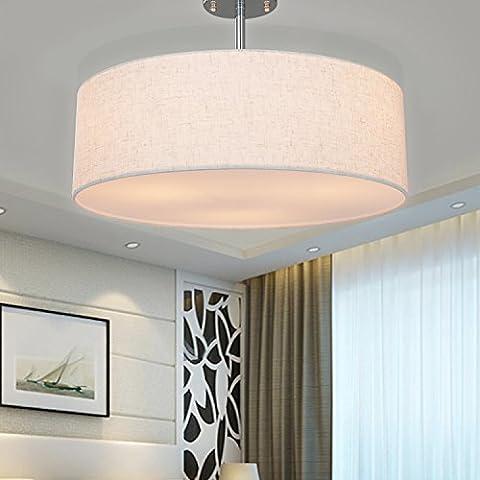 SPARKSOR Ceiling Light in Chrome matt, Fabric Drum Shade Pendant