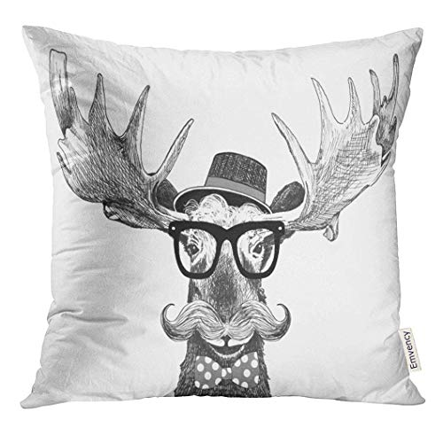 Throw Pillow Cover Hipster Glasses on Moose with Hat Big Handlebar Mustache and Polka Dot Bow Tie Cartoon Animal Statement Decorative Pillow Case Home Decor Square 18x18 inches Pillowcase Polka Dot Silk Bow