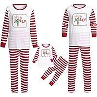Navidad Christmas Mujeres Mamá Papá Noel Remata Blusa Pantalones Familia Pijamas Conjunto de Pijama Manga Larga con Paquete Familiar Mujer Blanco2 XL
