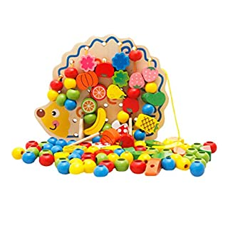 AiSi Wooden Hedgehog String Beads Toys Fruits and Vegetables Beaded Blocks Toys Early Educational Toys for Toddlers Kids
