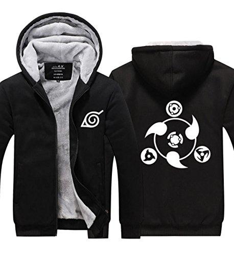 Winter Herren Hoodie Plus SAMT Sweatshirt Verdicken Zip Jacke Anime Black Coat Top Kleidung für Teen Cosplay Kostüm ()