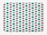 Doormats Eyelash Bath Mat, Childish Doodle Style Eyes in Pastel Colored Circles Curious Looks Modern, Plush Bathroom Decor Mat with Non Slip Backing, 23.6 X 15.7 Inches, Teal Turquoise Coral